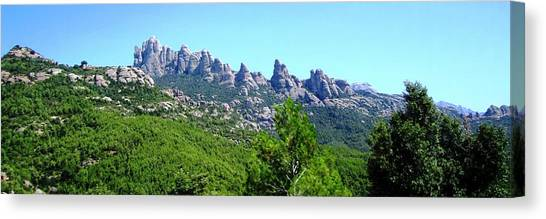 Montserrat Mountain Range Panoramic View Near Barcelona Spain Canvas Print