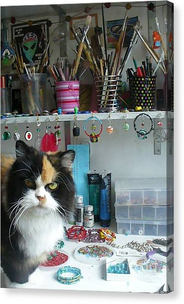 Moo Shu Cat On My Desk Canvas Print by Kristi L Randall