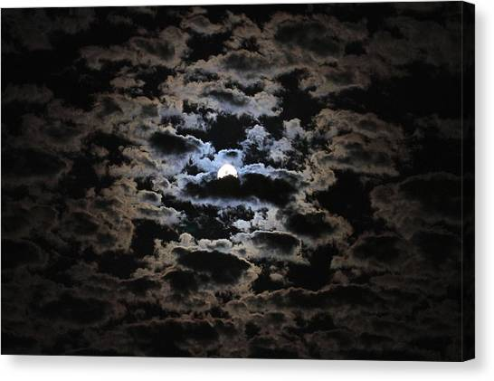 Moon And Clouds Canvas Print