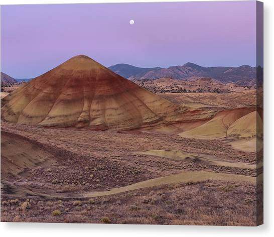 Ashes Canvas Print - Moon And Painted Hills by Leland D Howard