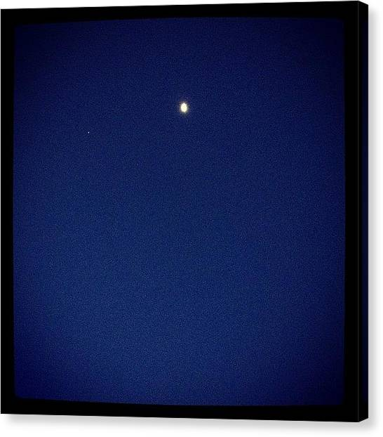 Roosters Canvas Print - Moon And Single Star. So Peace For In by Sarah Pratt Harvanek