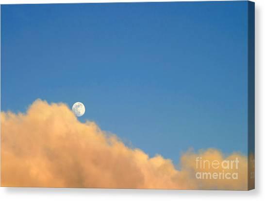 Moon At Sunset Canvas Print
