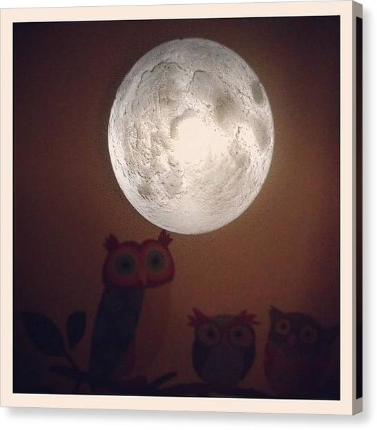 Owls Canvas Print - #moon #light #owls #dark #night by Adam Way