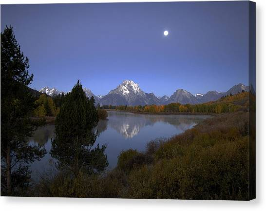 Moon Over Oxbow Bend The  Grand Tetons Canvas Print