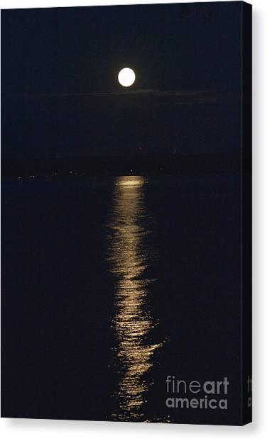 Moon Over Seneca Lake Canvas Print