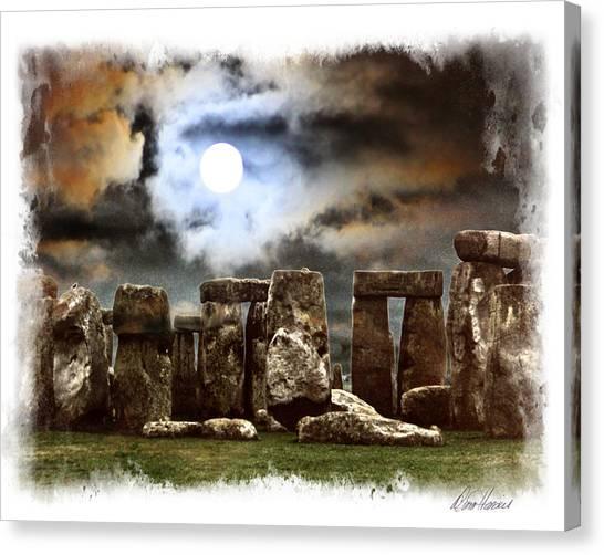 Moon Over Stonehenge Canvas Print