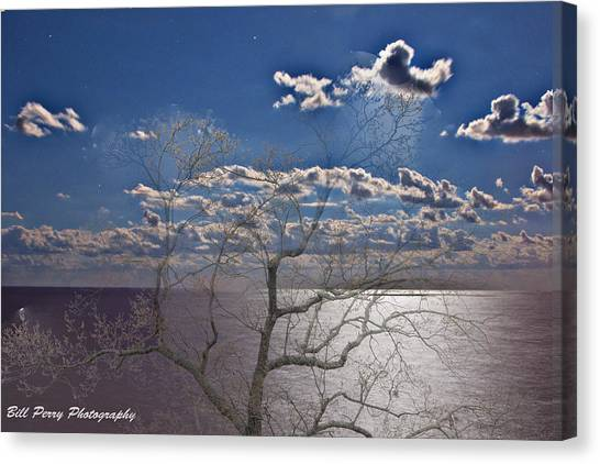 Moon Over The Water Canvas Print by Bill Perry