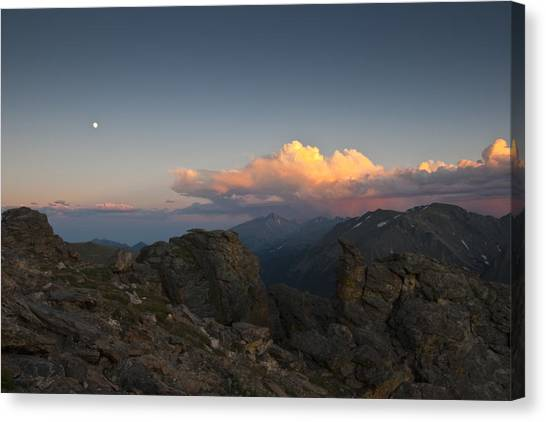 Moon Storm Sunset And Longs Peak Canvas Print by G Wigler