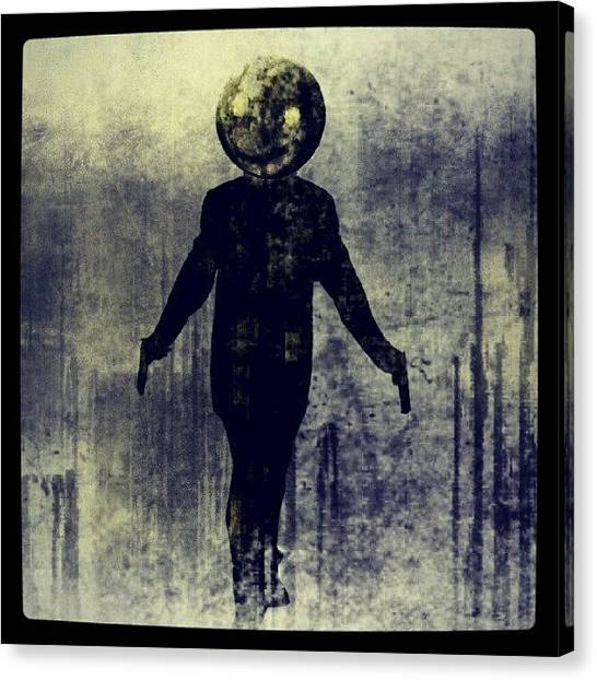 Face Canvas Print - Moonhead Killer by Kev Thibault