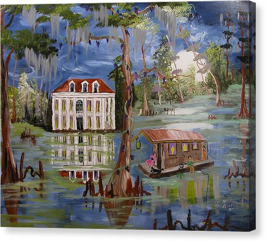 Moonlight And Houseboat Canvas Print by Mary Crochet