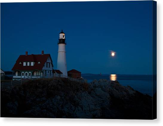 Moonrise At Portland Head Canvas Print
