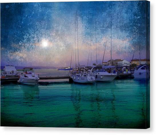 Moonrise At The Bay In Kukljica Croatia Canvas Print