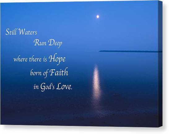 Moonrise On Lake Superior With Quote Canvas Print
