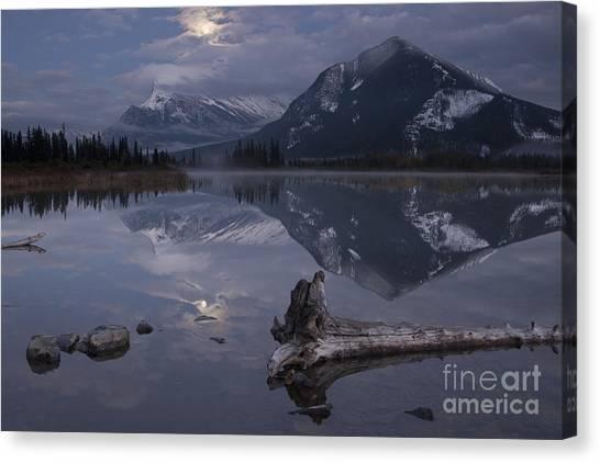 Moonrise Over Banff Canvas Print