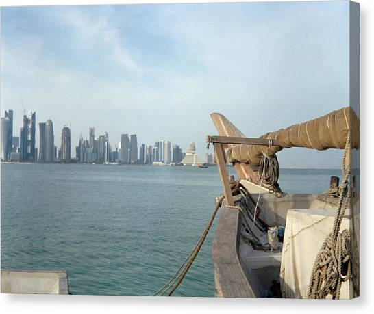 Moored Dhow And Doha Canvas Print