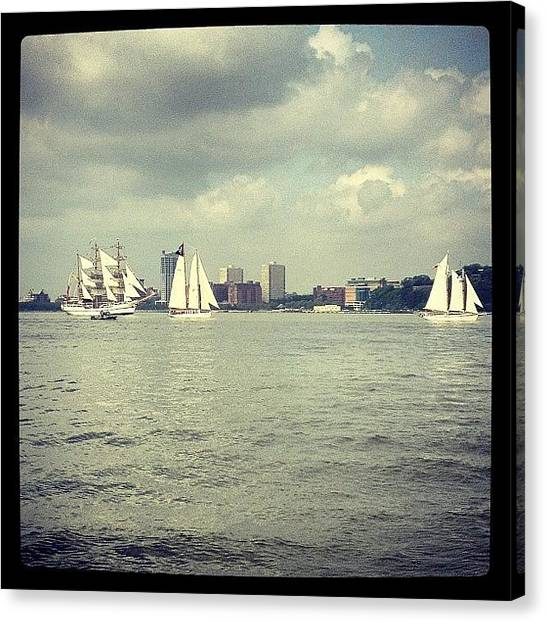 Sailboats Canvas Print - More Sailboats #hudson #sailboats #nyc by Ryan Mahoney