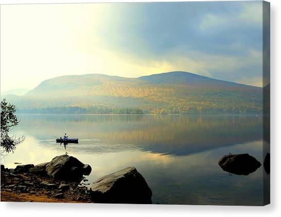 Morning Fisherman Canvas Print by Marie Fortin