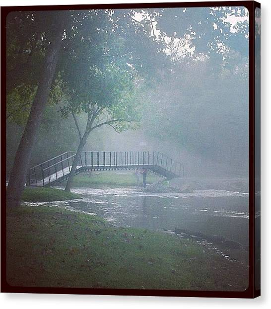 Trout Canvas Print - #morning #fog #trout #fishing #bridge by Michael Hughes