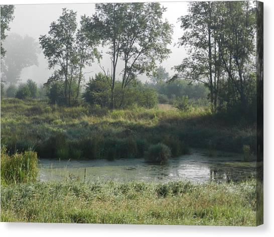 Morning Mist On Marsh Canvas Print by Dennis Leatherman
