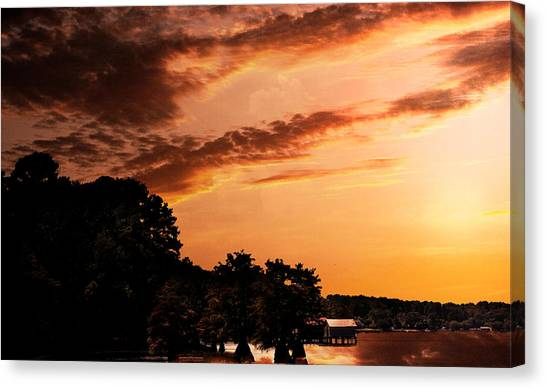 Morning On The Bayou Canvas Print by Barry Jones