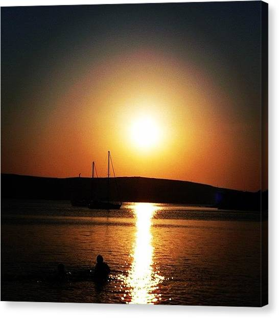 Greece Canvas Print - Morning Peeps, A Greek Sunset, Island by Raffaele Salera