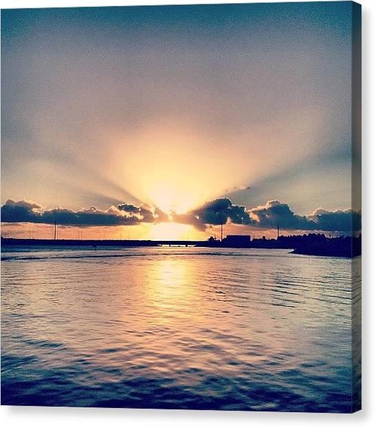 Ocean Sunrises Canvas Print - Morning Sunrise Over Water by Steve Guy