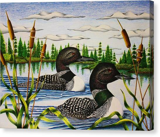 Loons Canvas Print - Morning Swim by Bruce Bley