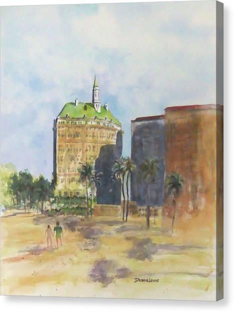 Morning Walk By The Villa Riviera Canvas Print