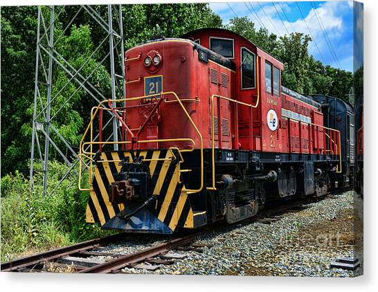 Train Conductor Canvas Print - Morristown  Erie Engine No.21 by Paul Ward
