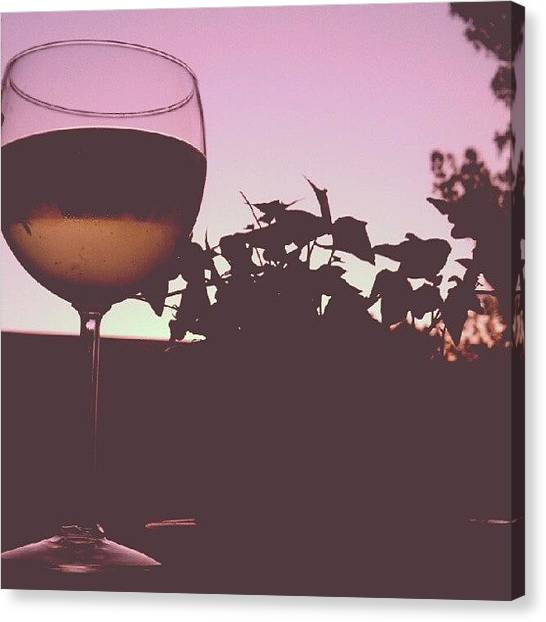 White Wine Canvas Print - Moscato Silhouette by Mary Griffin