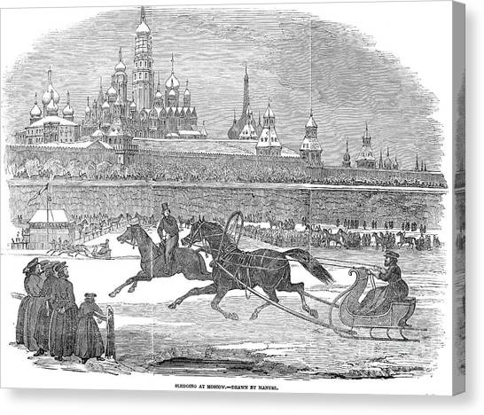 Sleds Canvas Print - Moscow: Sledging, 1850 by Granger