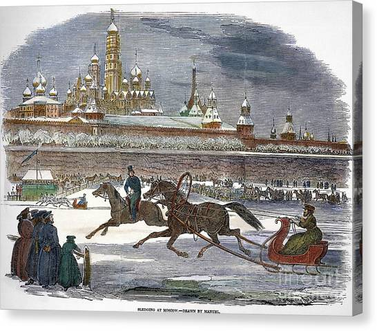 Sleds Canvas Print - Moscow: Winter by Granger