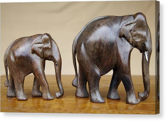 Mango Tree Canvas Print - Mother And Baby Elephants by Kantilal Patel