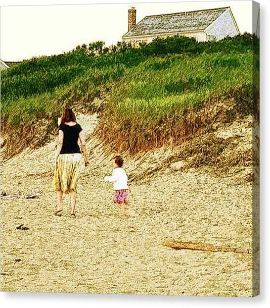 Vacations Canvas Print - Mother And Child by Edward Sobuta