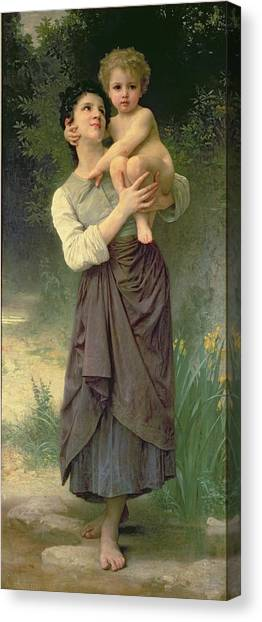 Nude Mom Canvas Print - Mother And Child by William Adolphe Bouguereau