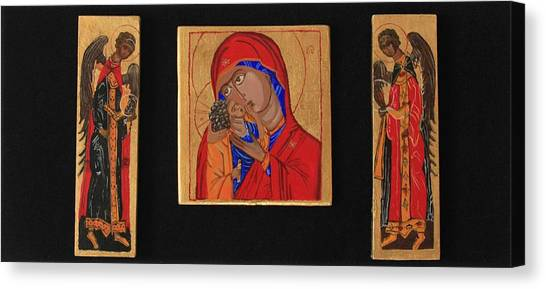 Mother And Child With Archangels Canvas Print by Amy Reisland-Speer
