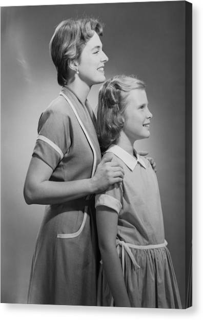 Mother And Daughter (12-13), Profile Canvas Print by George Marks