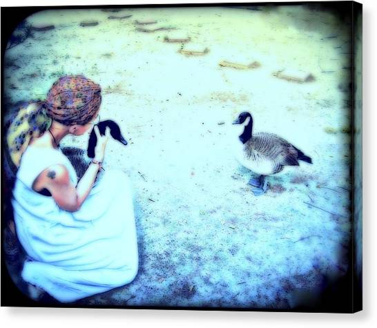 Mother And Geese Canvas Print