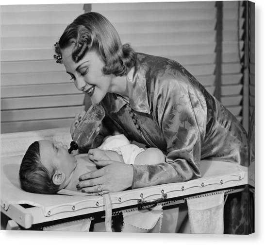 Mother Feeding Baby (3-6 Months) With Baby Bottle, (b&w) Canvas Print by George Marks