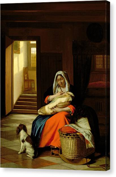 Nursing Canvas Print - Mother Nursing Her Child by  Pieter de Hooch