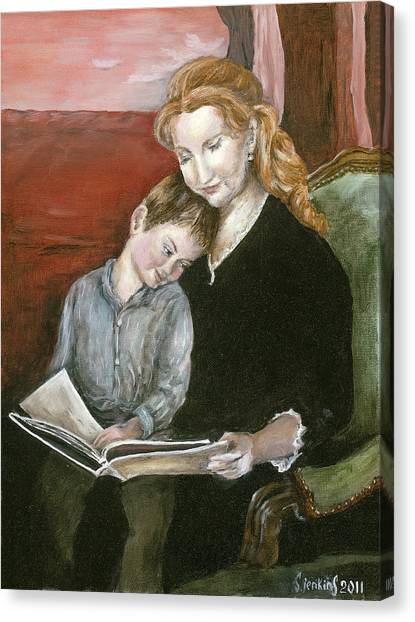Mother Reading To Son Canvas Print