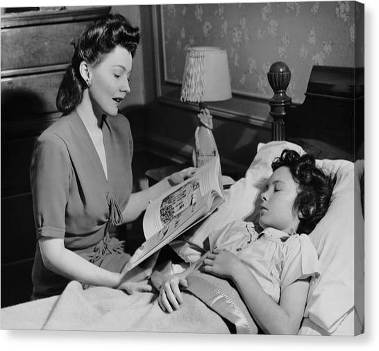 Mother Reads Child A Bedtime Story Canvas Print by George Marks