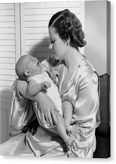 Mother W/ Baby Yawning Canvas Print by George Marks