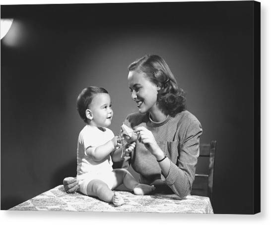 Mother With Baby (6-9 Months) Playing At Home, (b&w) Canvas Print by George Marks