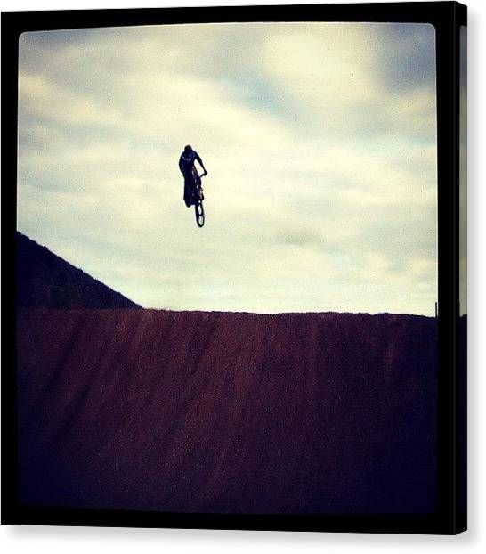 Biker Canvas Print - #moto #motocross #tenerife #south #sun by Gerry Richards