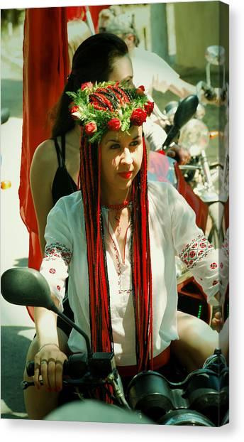 Motor-bride Canvas Print by Zhanna Vozbranna