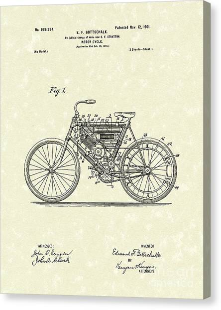 Motorcycle 1901 Patent Art Canvas Print