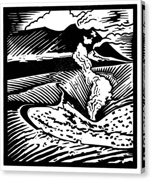 Mount Etna Canvas Print - Mount Etna, Woodcut by Gary Hincks