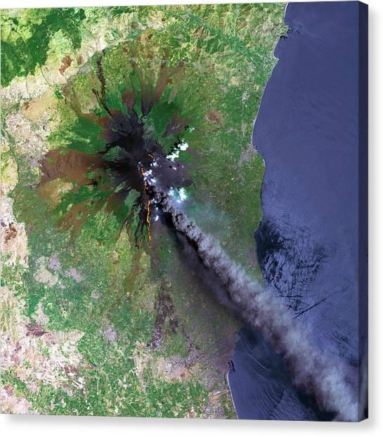 Mount Etna Canvas Print - Mount Etna's Smoke Plume by Planetobserver