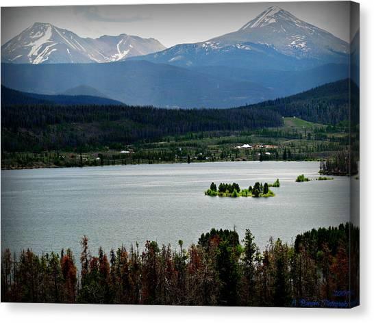 Mount Guyot And Bald Mountain Over Dillon Reservoir Canvas Print
